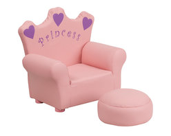 Flash Furniture - Flash Furniture Kids Pink Princess Chair and Footrest - Kids will now get to enjoy furniture designed specifically for their size! This adorable chair will make your little girl feel like a true princess! This fun set features a chair and footrest. This portable chair is great for seating in any room. The vinyl upholstery ensures easy cleaning after accidents or for quick wipe offs.