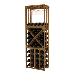 Wine Racks America - Lattice Stacking Cube - 3 Piece Set in Premium Redwood, Oak Stain - Designed to stack one on top of the other for space-saving wine storage our stacking cubes are ideal for an expanding collection. This 3-piece set comes with (1) X-Cube, (1) Stemware Cube and (1) 4 Column Cubicle. Use as a stand alone rack in your kitchen or living space or pair with more stacking cubes as your wine collection grows.