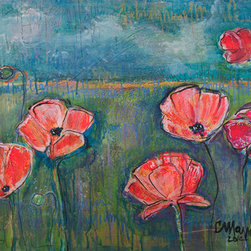 When I Find My Light Poppies (Original) by Laurie Maves - For over a decade now, Laurie Maves has painted hundreds and hundreds of poppies. For commissions, for herself, for the people. This painting comes from her latest series in 2014 focusing on the metaphors of light, love and growth