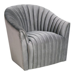 Interlude - Interlude Channel Swivel Chair, Otter - Art Deco-inspired and stunningly glamorous, the Channel Chair evokes swanky sophistication.