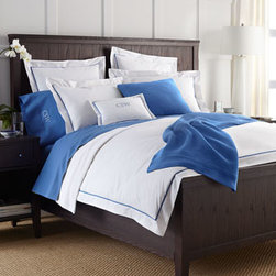 """Ralph Lauren - Ralph Lauren Twin Blanket, 66"""" x 90"""" - Crisp white Palmer percale bedding is accented in colors to coordinate with Ralph Lauren's 464-thread-count, Egyptian cotton percale sheets. Select color when ordering. From Ralph Lauren's Signature Classics collection. Palmer bedding is woven of ext..."""