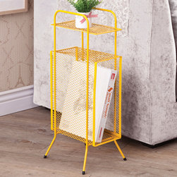 """Coaster - Storage Table, Yellow - A simple and effective storage solution for small spaces and nooks. This metal storage table features a tall rectangular compartment, a top shelf and sturdy metal legs with rubber grip feet.; Finish/Color: Yellow; Dimensions: 11.50""""L x 9""""W x 25""""H"""