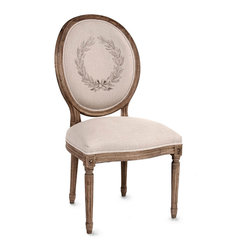 Medallion Side Chair - Neo-Classical and stable in its graceful appearance, the Medallion Side Chair is a superb neutral detail for the home that enhances your architecture, reflecting composed combinations of shapes through its Parisian-inspired construction.  A wreath of laurels adorns its cameo back, while a carved, molded apron and legs give the chair a continuous feel.