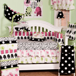 Cotton Tale Designs - Hottsie Dottsie 8 Pc Crib Bedding Set - A quality baby bedding set is essential in making your nursery warm and inviting. All Cotton Tale patterns are made using the finest quality materials and are uniquely designed to create an elegant and sophisticated nursery. This collection is 100% cotton. Graphic, fun, contemporary. The Hottsie Dottsie 8 Pc Set includes 4 Pc Crib Bedding Set(bumper, crib sheet, dust ruffle, and coverlet), diaper stakcer, valance, toy bag, and pillow pack. Black elephants with hot pink and green accents. The channel quilted comforter in 6 fun fabrics, sheet in white with black spots. A four sectioned bumper in hot pink stripe and black elephants. The dust ruffle is double shirred in pink and green floral. The Hottsie Dottsie Diaper Stacker is 100% cotton. Black elephants with green animal skin trim. Holds up to 5 dozen newborn diapers. Functional and fun. Never tie on crib. The Valance is double tiered floral, shirred with green animal skin ties. This valance measures 56 x 14. Hottsie Dottsie Toy Bag is in big white dot on black with hot pink stripe lining. Ties in green animal skin. Can be used as wall decor or tied to the changer. Can store toys or supplies. Never tie to the crib. The Pillow Pack is spot clean only. 100% cotton shell with poly fill. 3 pillows in big white dot on black with white flange trim, one in pink floral and one in green floral. Pillow measure 15x15, 12x12, and 10x10. Tied together with the green animal skin. Can be used separately or together, never in the crib, only for decoration. Makes a smashing nursery. Wash gentle cycle, separate, cold water. Tumble dry low or hang dry. Fun crib bedding for your special girl.