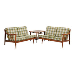 Unknown - Consigned Danish 2-Piece Plaid Sectional Sofa - • Mid Century | Danish Modern