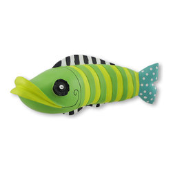 Zeckos - Funky Fish 3-D Wall Hanging Sculpture - From his contrasting stripes, to his hypnotic eye and over sized lips, this fish puts the FUN in FUNky He is sure to stir up some fun fish tales No tank needed for this fish, he'll swim right on your wall Easily hung from two keyhole brackets on the back, he releases from the wall 3.75 inches, and really 'stands out'. This funky fish would have some fun in a child's room, or whimsically greet your guests at the door. He is cast from resin and hand painted. He measures 11.5 inches long, 5 inches high and 3.75 inches deep. He's sure to make a splash anywhere you choose