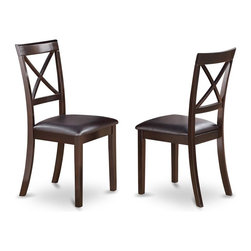 East West Furniture - Upholstered Vanity Chair - Set of 2 - Set of 2. Made from hardwood and micro fiber. Cappuccino finish. Made in Vietnam. Assembly required. Seat height: 18 in.. Overall: 17 in. W x 16.5 in. D x 38.5 in. H (40 lbs.)