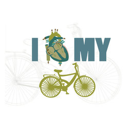 Bicycle Love Art- I Heart My Bicycle in 11x14 Print - This special bicycle print is inspired by everybody out there who loves their bike. Subdued colors and understated background adds a modern appeal. Change the color to anything you want.