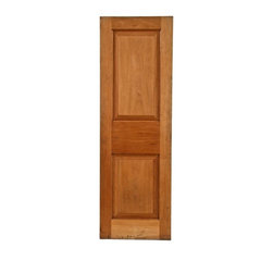 Interior and Exterior Doors - unusual early 20th century american antique double recessed panel solid walnut wood interior residential unfinished passage door - fabricator unknown