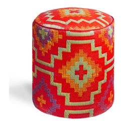 Fab Habitat - Lhasa - Orange & Violet Pouf - Stunning, bold geometric shapes are featured in this modern, eco-chic pouf. You'll adore having this vibrant, handmade round ottoman in your home, with its recycled materials that are easy to clean, and its Tibetan-inspired vivid colors.