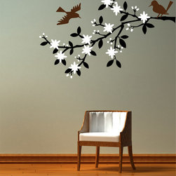 Cherry Walls - Blossoming Cherry Tree Branch Decal - Bring a little springtime into your home every day. Paired with framed photos in your entryway or solo in the den, this decal has an elegant silhouette and the freshness of clean, modern design. Skip the April showers and let these May flowers and pretty songbirds perk you up all year long.