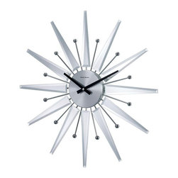 "George Nelson - Mirrored Sunburst Clock - Surrounded by mirrored spindles and ball tipped metal spokes, this gleaming sunburst wall clock will be a fresh, modern way to bring a touch of metallic finish to your home's decor. Finished in silver tone, the battery operated clock has a round face with bold black hands. Uses 1 AA battery (not included). George Nelson classic design. High-grade quartz movement. Keeps accurate time. 1.75 in. D x 19.37 in. W x 19.37 in. H (2.64 lbs.)This striking starburst wall clock measures approximately 19.25 in. across and is in new condition. The style is very atomic with the energetic radiating ""protons"", alternating mirrored sun rays and metal spindles with ball on the top."
