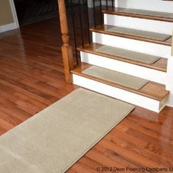 """Dean Flooring Company - Dean Premium Wool Carpet Stair Treads - Madison Natural (13) 30""""x9"""" & Runner - Dean Premium New Zealand Wool Carpet Stair Treads - Madison Natural (13) 30"""" x 9"""" Plus a Matching 5' Landing Runner : Premium Wool Carpet Stair Treads by Dean Flooring Company. Color: Madison Natural. Material: 70% New Zealand Wool and 30% Olefin. Face Weight: 56 oz. Edges: Finished (serged) with attractive color matching yarn. Size: Approximately 30"""" x 9"""". Set includes 13 stair treads plus a matching 5' landing runner. Easy to spot clean and vacuum. Helps prevent slips on your hardwood stairs. Great for helping your dog easily navigate your slippery staircase. Reduces noise. Reduces wear and tear on your hardwood stairs. Attractive: adds a fresh new look to your staircase. Easy DIY installation with double sided carpet tape or (not included - sold separately). WOOL is the traditional fiber used to make rugs, and it's no big mystery why. Besides being luxurious to the touch, wool can be dyed to beautiful rich colors, is fire-resistant, stain resistant, non-allergenic and holds up well over time. Also, wool is biodegradable and a renewable resource, making it a green choice as well as an elegant one. Add a touch of warmth and style to your home today with stair treads from Dean Flooring Company!"""