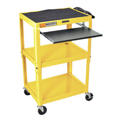 Luxor Furniture - Adjustable AV Cart in Yellow - Includes 4 in. swivel casters and safety mats. Two casters with locking brake. Two drop leaf shelves. One pullout keyboard shelf. 3-outlets 15 ft. UL and CSA listed electrical assembly with cord plug snap. Roll formed shelves with powder coat paint finish. 0.25 in. lip around each shelf. Robotically welded and cables pass through holes. Made from steel. Made in USA. Keyboard shelf: 18.75 in. L x 11.75 in. W. Drop leaf shelves: 11 in. L x 18 in. W. Overall: 24 in. L x 18 in. W x 24 - 42 in. H. Warranty