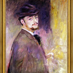 """Pierre Auguste Renoir-18""""x24"""" Framed Canvas - 18"""" x 24"""" Pierre Auguste Renoir Self Portrait at the Age of Thirty-Five framed premium canvas print reproduced to meet museum quality standards. Our museum quality canvas prints are produced using high-precision print technology for a more accurate reproduction printed on high quality canvas with fade-resistant, archival inks. Our progressive business model allows us to offer works of art to you at the best wholesale pricing, significantly less than art gallery prices, affordable to all. This artwork is hand stretched onto wooden stretcher bars, then mounted into our 3"""" wide gold finish frame with black panel by one of our expert framers. Our framed canvas print comes with hardware, ready to hang on your wall.  We present a comprehensive collection of exceptional canvas art reproductions by Pierre Auguste Renoir."""