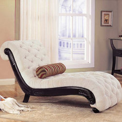 Coaster - Beige Traditional Chaise - This grand style chaise features scroll design with a wood trim and button tufted accents on the fabric, making this chaise great for any room.