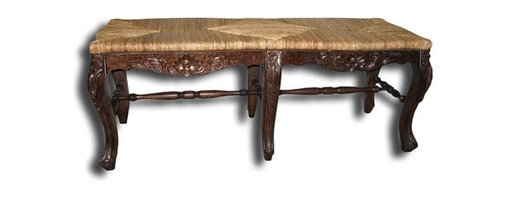 EuroLux Home - New Bench French Country Rattan Hand-Woven - Product Details