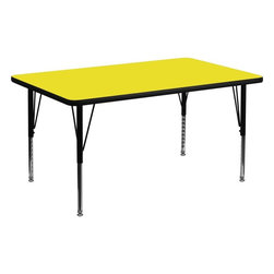 "Flash Furniture - 30""W x 48""L Rectangular Activity Table with Adjustable Pre-School Legs - Yel - Flash Furniture's Pre-School XU-A3048-REC-YEL-H-P-GG warp resistant high pressure laminate rectangular activity table features a 1.25 in.  top and a high pressure laminate work surface. This Rectangular High Pressure Laminate activity table provides an extremely durable (no mar, no burn, no stain) work surface that is versatile enough for everything from computers to projects or group lessons. Sturdy steel legs adjust from 16.25 in.  - 25.25 in.  high and have a brilliant chrome finish. The 1.25 in.  thick particle board top also incorporates a protective underside backing sheet to prevent moisture absorption and warping. T-mold edge banding provides a durable and attractive edging enhancement that is certain to withstand the rigors of any classroom environment. Glides prevent wobbling and will keep your work surface level. This model is featured in a beautiful Yellow finish that will enhance the beauty of any school setting."