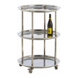 "Arteriors - Arteriors Home - DuBois Bar Cart - 6082 - This round bar cart has three shelves, round supports and industrial wheels that lock. Vintage silver finish on solid brass. Features: DuBois Collection Bar CartVintage silver Finish Round bar cart has three shelves Some Assembly Required. Dimensions: H 35""x 24"" Dia"