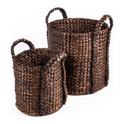 Bucket Water Hyacinth Basket Set of 2 - Woven Accents Collection
