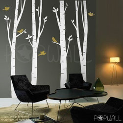 Tree Wall Decal Wall by NouWall - Modeled after birch trees, this designer allows you to customize your size and color to suit your particular needs. The branches, leaves and birds can be moved as well.