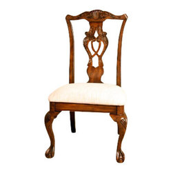 MBW Furniture - Pair of 2 Mahogany Chippendale Cream Dining Side Chairs - Solid Mahogany Construction