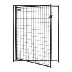 "Jewett-Cameron Companies - AKC Probreeder Gate, 5'W x 6'H - Commercial grade steel frame, with 8 gauge welded wire mesh and a round tube design. 2-Step Powder Coating process. After welding, the complete panel is coated with zinc enriched primer then powder coated to inhibit rust. Center mesh weld, eliminates sharp edges. All panels have a safety square corner design and 1"" raised legs for easy cleaning to help prevent bacteria build-up."
