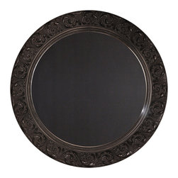 """Enchante Accessories Inc - Parisian Home Round Wooden Framed Wall Chalkboard / Blackboard 26"""" (Black) - This message board features a Ornately carved Wooden Framed chalkboard. Use it as a traditional board for notes & to-do lists. With a wooden frame, this chalkboard works as well in the dining room, kitchen or mudroom as it does in the home office."""