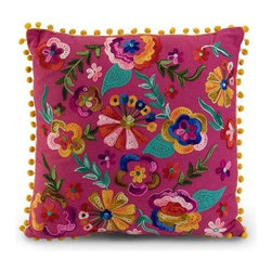 Cindi Pillow - Embroidered pink cotton fabric takes on a spicy look with the bold colored floral design of the Cindi pillow.