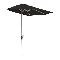 "Blue Star Group - OFF-THE-WALL BRELLA 7.5 Ft. Half Umbrella - Black - Sunbrella Fabric - What a great new idea!  OFF-THE-WALL BRELLA is a half-canopy patio umbrella that stands, without attachment, flush against a wall, window, sliding glass door or any vertical surface.  This decorative and portable faux-awning provides cooling shade and welcomed protection from the elements.  Now, homeowner's and condominium dwellers alike can open their drapes to enjoy the view and be sheltered from the hot sun or rain.  The Black canopy is made of Sunbrella Fabric fabric for long lasting durability and color.  The sturdy frame has a tough, powder coat, Champagne color finish and a hand crank for easy raising and lowering of the canopy.  Fully opened, the umbrella stands 94"" H x 88"" W x 45"" D.  When closed, the upper pole and canopy can be separated from the lower pole for compact storage."