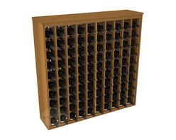 100 Bottle Deluxe Wine Rack in Redwood with Oak Stain - This wooden wine rack functions well as either a freestanding wine rack furniture or as part of a complete wine cellar design. Solid top and side enclosures promote the cool and dark storage area necessary for aging your wine properly. Your satisfaction and our racks are guaranteed.