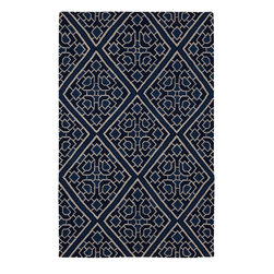 Surya - Contemporary Alameda 2'x3' Rectangle Sapphire Blue, Ivory Area Rug - The Alameda area rug Collection offers an affordable assortment of Contemporary stylings. Alameda features a blend of natural Blue Haze, Oyster Gray color. Handmade of 100% Wool the Alameda Collection is an intriguing compliment to any decor.