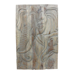 Kammika - Elephant Gentle Giant Mother Wood Wall Panel 24Wx36Hx2 inch Livos Agate Grey Oil - This lovely Sustainable Monkey Pod Wood Wall Panel Elephant Gentle Giant Mother 24 inch width x 36 inch height x 2 inch thickness in Eco Friendly, Natural Food-safe Livos Agate Grey Oil Finish is completely eco friendly. Elephants have been revered in Thailand for many centuries. Known as the strongest beasts of burden, they have also been noted for their intelligence, memory and pleasant nature. Each panel is meticulously carved out of joined panels of Monkey Pod wood. To make hanging easier, there are two embedded flush mount Keyhole hangers for a protruding screw from your wall. All are hand carved from wood grown specifically for the woodcarving industry, and are rubbed in eco friendly Livos Agate Grey Oil that is polished to a water resistant and food safe matte finish. The oil makes the wood turn to an antique white look with a light grey patina finish. The light portions turn to shades of beige, and the dark lightens to shades of brown with a light transparent grey top coat over the white antique looking undercoat. These natural oils are translucent, so the wood grain detail is highlighted. There is no oily feel; and cannot bleed into carpets, as it contains natural lacs. We make minimal use of electric hand sanders in the finishing process. All products are dried in solar or propane kilns. No chemicals are used in the process, ever. Each piece is kiln dried, sanded, rubbed with eco friendly Livos Agate Grey Oil; and then they are packaged with cartons from recycled cardboard with no plastic or other fillers. As this is a natural product, the color and grain of your piece of Nature will be unique, and may include small checks or cracks that occur when the wood is dried. Sizes are approximate. Products could have visible marks from tools used, patches from small repairs, knot holes, natural inclusions or holes. There may be various separations or cracks on your piece when it arrives. There may be some slight variation in size, color, texture, and finish color.Only listed product included.