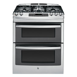 "GE Profile Series 30"" Slide-In Double Oven Gas Range - Product highlights:"