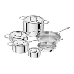 Zwilling Sensation 10 Piece Cookware Set - A thing of beauty that will last ��� The Zwilling Sensation 10 piece cookware set features Sigma Clad  5-ply stainless steel  which guarantees fast and even heat distribution right to the edge of your pots and pans.  The patented stainless steel Silvinox surface will ensure that your Sensation cookware stays as shiny and bright as it was on the first day.  The cookware features solid joints  with no crevices to trap dirt or bacteria  and is compatible with all cooktops including induction.  Set Includes     9.5� Fry Pan  11� Fry Pan  1.5 Quart Saucepan w/Lid  3 Quart Saucepan w/Lid  3 Quart Saute Pan w/Lid  8 Quart Stock Pot w/Lid    Product Features    Straight  traditional design  smooth satin finish  Shot-blasted  stainless steel handles  resistant to scratches and fingerprints  Ergonomic stainless steel handles stay cool while cooking  Absolutely solid joint  no edges to collect dirt or bacteria  making the cookware especially easy to clean  Broad  clean pouring rim  The high-grade Silvinox surface remains shiny and silver like new  even after years of use