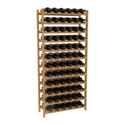72 Bottle Stackable Wine Rack in Pine with Oak Stain - Four kits of wine racks for sale prices less than three of our 18 bottle Stackables! This rack gives you the ability to store 6 full cases of wine in one spot. Strong wooden dowels allow you to add more units as you need them. These DIY wine racks are perfect for young collections and expert connoisseurs.