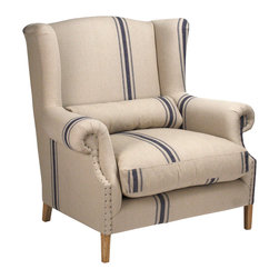 Kathy Kuo Home - Abraham English Blue Stripe Fog Linen Oversize Armchair - The classy English armchair is given a more modern, casual treatment here, with fog linen upholstery and abstract blue stripes. This luxuriously oversized seat entices you to collapse into it just as soon as you walk in the door - even if you're still wearing your coat and laptop bag. Never fear, there's room for everything. Pair this chair with a vintage leather sofa in your country cottage or rustic urban loft.