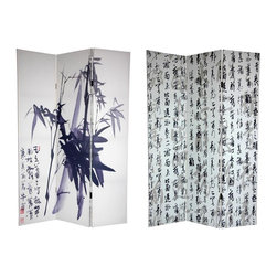 "Oriental Unlimited - 6 ft. Tall Double Sided Bamboo Calligraphy Ca - One double-sided divider, both sides shown in image. Our series of Japanese art prints continues with a pair of beautiful images enlarged specifically for our screens. On the front is a simple, subtle, black ink Sumi-e style painting of a bamboo tree, with Japanese characters and red ownership ""chop"" stamp in the lower left. On the back is almost a wall paper pattern, of archaic vertical Kanji (Japanese writing) poetry, stylized in black, white, and shades of gray. These simple, elegant works of East-Asian art will provide you with lovely interior design elements for your living room, bedroom, dining room or kitchen. This 3 panel screen has different images on each side. High quality wood and fabric covered room divider. Well constructed, extra durable, kiln dried Spruce wood frame panels, covered top to bottom, front, back and edges. With tough stretched poly-cotton blend canvas. 2 Extra large, beautiful art prints - printed with fade resistant, high color saturation ink, creating 2 stunning, long lasting, vivid images, powerful visual focal points for any room. Amazingly inexpensive, practical, portable, decorative accessory. Almost entirely opaque, double layer of canvas, providing complete privacy. Easily block light from a bedroom window or doorway. Great home decor accent - for dividing a space, redirecting foot traffic, hiding unsightly areas or equipment, or for providing a background for plants or sculptures, or use to define a cozy, attractive spot for table and chairs in a larger room. Assembly required. 15.75 in. W x 70.88 in. H (each panel)"