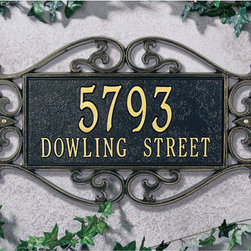 Lewis Fretwork Address Plaque - Whether you are using this for home or business, detailed scrollwork and large numbers will make your building stand out from the road. This is lovely on your front door, fence, gable any other exterior facade. Your choice of one or two lines of personalization.
