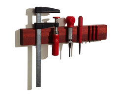 """M.O.C. Woodworks - M.O.C. Board 12"""" Bloodwood Magnetic knife holder  (Houzz Exclusive) - The color of this wood is striking, it is not a stain, that is the natural color!"""