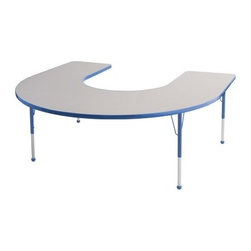 ECR4KIDS Horseshoe Adjustable Activity Table - Perfectly shaped for story time the Early Childhood Resources Horseshoe Adjustable Activity Table is a practical activity table for classroom or daycare settings and seats up to seven kids. The table is shaped like a horseshoe which enables a teacher to instruct from the center with the children all facing him or her. This durable table is made with thick recycled particleboard and is laminated on both sides which provides a stain-resistant and easy-to-clean surface. The corners are rounded for safety and the smooth edge banding is available in your choice of popular kid-friendly colors. This safe non-toxic table will not fade or discolor. The adjustable metal legs are powder-coated on top and chrome-plated on the bottom with matching ball glides for feet. The table can also be adjusted in height to fit children of a specific age or grade. The table adjusts 15-23 inches high or adjusts 19-30 inches high. Both table options carry a seven-year manufacturer's warranty. Chairs are sold separately. Adult assembly is required. Tabletop Details: Gray laminate tabletop is laminated on both sides and measures 1.125 inches thick. Table substructure is made from medium-density particleboard that is at least 90% recycled (minimum 4% post-consumer balance pre-consumer). Bright color banding is available in a variety of popular classroom colors. Color banding grips into the tabletop edges and is pinned in place every 6-8 inches with recessed nails to ensure that the banding remains firmly in place. Color banding is made from PET and contains no phthalates. Rounded corners for extra safety. EPP certified CARB compliant and may contribute to U.S. Green Building Council's LEED™ Credits MR 4.1 and 4.2. Leg Details: Durable powder-coated paint on upper leg. Color matches the banding. Chrome-plated adjustable lower leg insert. Legs are adjustable in 1-inch increments Threaded adjustment holes in lower leg keep legs securely in place. Color-coordinated polypropylene ball glides. Pre-installed brackets and pre-drilled screw holes make leg mount installation and alignment easy. Available in 2 sizes: Toddler table measures 66L x 60W x 15-23H inches. Standard table measures 66L x 60W x 19-30H inches. About Early Childhood ResourcesEarly Childhood Resources is a wholesale manufacturer of early childhood and educational products. It is committed to developing and distributing only the highest-quality products ensuring that these products represent the maximum value in the marketplace. Combining its responsibility to the community and its desire to be environmentally conscious Early Childhood Resources has eliminated almost all of its cardboard waste by implementing commercial Cardboard Shredding equipment in its facilities. You can be assured of maximum value with Early Childhood Resources.