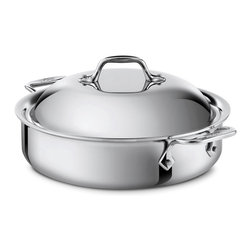 All-Clad Stainless Steel 4 Qt. Sauteuse With Lid - The All-Clad 4 qt. sauteuse features a large surface area and tall  straight sides  the ideal design for searing foods then adding liquid to braise or deglaze. The pan's lid holds in heat and circulates moisture  delivering tender  flavorful results. Offering the convenience of creating all-in-one-pan meals  the versatile sauteuse effortlessly transfers from stovetop to oven to table  all with the ease and comfort of its large loop handles.  Product Features      Premium tri-ply construction delivers even heat distribution   Interior starburst finishing provides superior stick resistance   Easy grip riveted loop handles provides stability   18/10 stainless steel cooking surface will not react with food   4 quart capacity
