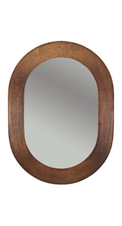 Premier Copper Products - Hand-Hammered Oval Copper Mirror - Uncompromising quality, beauty, and functionality make up this Hand Hammered Copper Oval Mirror Frame.  Our hand made copper mirrors complement a wide variety of styles and colors.
