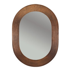 "Premier Copper Products - 35"" Hand Hammered Oval Copper Mirror - Uncompromising quality, beauty, and functionality make up this Hand Hammered Copper Oval Mirror Frame.  Our hand made copper mirrors complement a wide variety of styles and colors."