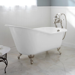"""61"""" Callaway Cast Iron Slipper Clawfoot Tub - Ball & Claw Feet - This elegant Callaway Cast Iron Slipper Tub features an extended, gently sloped backrest and sits on ball-and-claw feet. Design your dream bath around this gorgeous freestanding tub."""