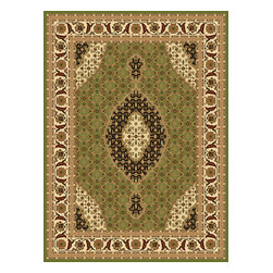 Rug - ~5 ft. x 8 ft. Green Authentic Modern Indoor Living Room Area Rug, Machine Made - (Machine Made) MONA LISA COLLECTION:
