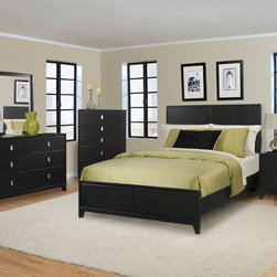 West Loft Bedroom Set - It includes 4 bedroom pieces, with 2 bed options (Queen and King) and ample storage options to meet your requirements. Painted black finish with a rub through of chocolate undertone