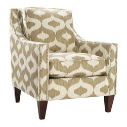 Homeware Pryce Accent Chair - Oatmeal - Classic style gets a modern touch with the gorgeous Homeware Pryce Accent Chair - Oatmeal. Its bold geometric print in cream and taupe adds style and catches the eye. This gorgeous chairs features long, modern track arms outlined in a double row of pewter nailhead trim, bringing out the beauty and luxurious design of the chair. Its gorgeous wood frame is finished in a rich espresso, highlighting the classic lines and understated beauty.Not available for sale in, or delivery to, the state of California.