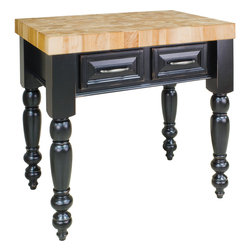 Hardware Resources - Petite Jeffrey Alexander Island 36 x 24 x 36   Distressed Black - This 36 x 24 x 36 table style island is manufactured using the highest furniture grade hardwoods and MDF. The island features two working drawers on one side and a decorative panel on the reverse side. The drawers are dovetailed solid hardwood and are mounted on full extension soft close undermount slides. The included decorative hardware can be found in Jeffrey Alexander Lafayette collection (317 128). Coordinating posts are available in our carved wood collection (P4 2). Distressed Black finish is applied by hand. 3 maple end grain butcher block top is preinstalled. Some Assembly may be required.