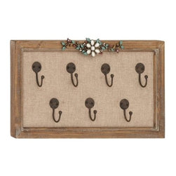 """Wood Wall Hook 93951 - Wood Wall Hook features worn wood frame adorned with floral embellishment at top and includes seven wall hooks in center. 16"""" W x 9"""" H"""